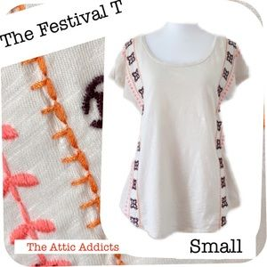 Boho Top Embroidered Short Sleeve M